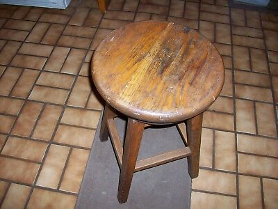 "22"" Antique Oak & Iron Adjustable Swivel Stool VTG Industrial Shop Chair TIGHT!"