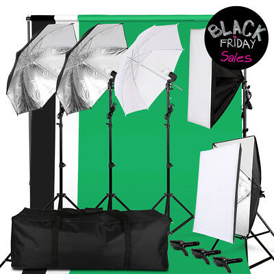 Photo Photography Continuous Video Studio Lighting Kit Muslin Backdrop Stand Set