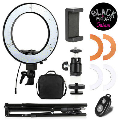 "Dimmable Photography 12"" LED Ring Light Phone Adapter Studio Lighting"