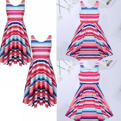 Toddler Kids Baby Girl Summer Clothes Stripe Party Pageant Princess Tutu Dresses