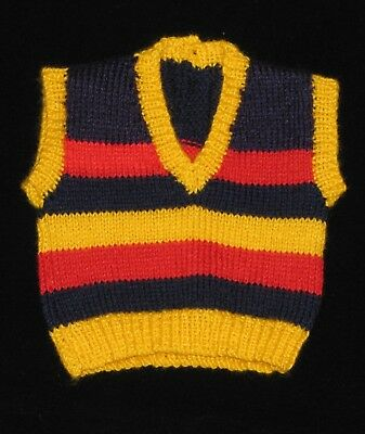 HAND KNITTED ADELAIDE CROWS FOOTBALL BABY VEST 0-3 Months