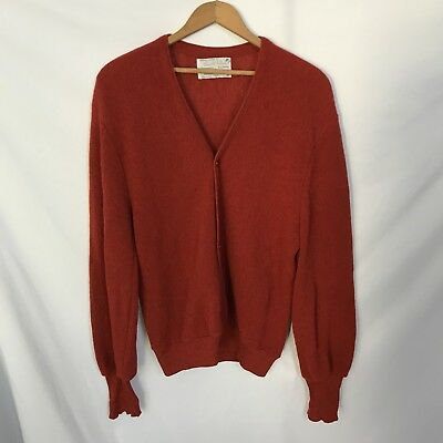 Arnold Palmer Robert Bruce Cardigan Sweater Vtg Alpaca Wool Red M Made In USA