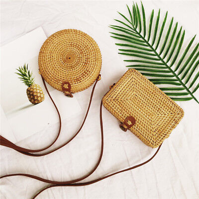 Women Summer NEW Round Straw Bags Rattan Bag Handmade Woven Beach Cross Body Bag