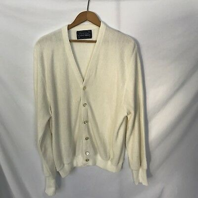 Arnold Palmer Robert Bruce Cardigan Sweater Vtg Alpaca Wool Ivory L Made In USA