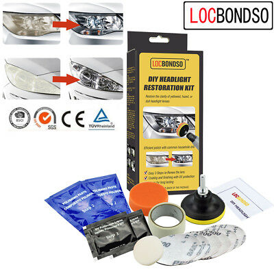 DIY Professional Headlight Restoration Restore Clean Renew Lens Polish Car Kit^
