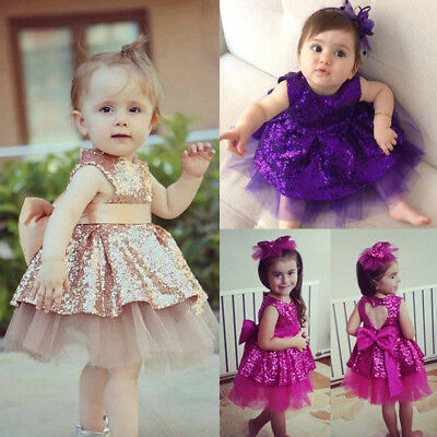 Kids Girl Baby Sequin Bow Princess Dress Shiny Baby Birthday Party Wedding Dress