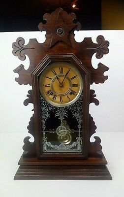 Antique Gingerbread Wooden Victorian Mantel Cased Clock Carved With Keys