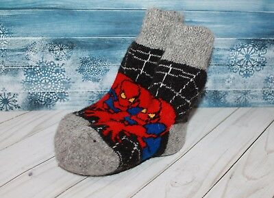 Kids' winter SOCKS sheep WOOL robocar poly spiderman warm thick 4 year baby