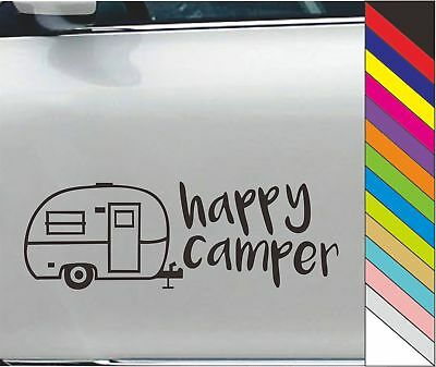 Happy Camper Car Sticker Vinyl Decal Door Window Bumper Laptop Decor Waterproof
