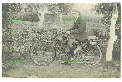 Old Postcard Early Motorcycle Rider Real Photo Vintage C.1910
