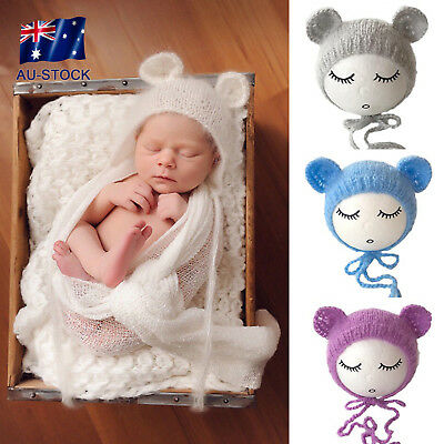 1pcs Baby Newborn Mohair knitting Bonnet Hat Photo Photography Prop Cap Outfits