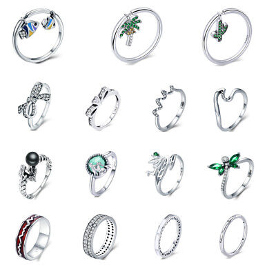 Voroco Hot 925 Sterling Silver Finger Ring With Fish Charm Bead Jewelry Size 6-8