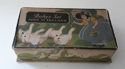 Vintage EPNS Baby Feeding Spoon & Pusher Set.  Boxed