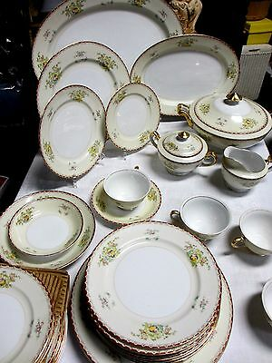 Vintage 81 Pieces  Royal Embassy China Red Trim Oneida Pattern     FREE SHIPPING