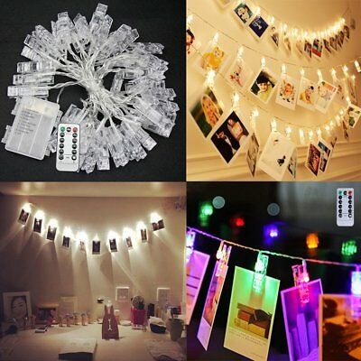 40/80/100 LED Foto Clips Lichterkette Dekoration String Lights Mit  Fernbedienung