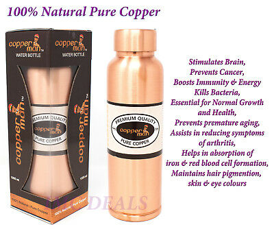 Copper Man 100% Natural Pure Copper Water Bottle Ayurveda Health 1000ml, 1 Ltr