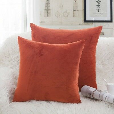 (16 x 16, Rustred) - Luxury Velvet Throw Pillow Covers Soft Smooth Decorative