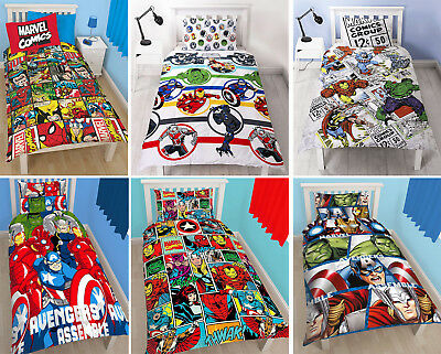Marvel Comics Avengers Single Duvet Quilt Cover Kids Superheroes Bedding Set
