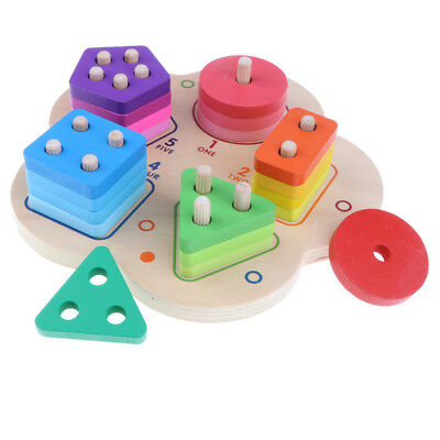 Holz Geometrie Block Farbe Formen Bruch Puzzle Montessori Stacking Spielzeug