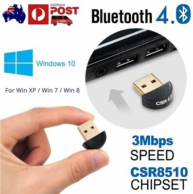 USB Bluetooth Adapter V4.0 Dongle Receiver CSR8510 for PC WIN XP VISTA 7 8 10 AU