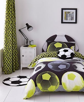 Catherine Lansfield Girl Boy Neon Football Duvet Cover Bedding Set Range Yellow