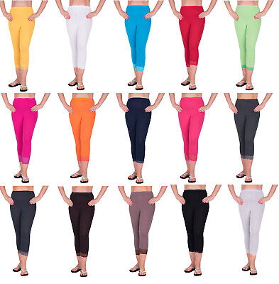 b3ed463ef07bc6 Cropped Leggings With Lace 3/4 Length Casual Cotton Pants Hot Colours Sizes  8-