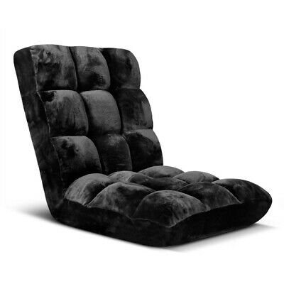 Lounge Sofa Bed Recliner Couch Adjustable Foldable Floor Fabric Chair Black
