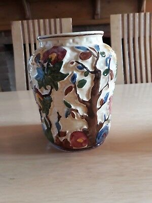 Hand Painted Indian Tree Pottery Vase By Tony Wood Staffordshire