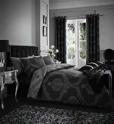 Catherine Lansfield Damask Black Duvet Cover Set and Optional Matching Curtains