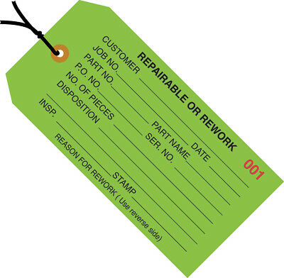 """Box Partners Inspection Tags Pre-Strung """"Repairable or Rework"""" 4 3/4"""" x 2 3/8"""""""