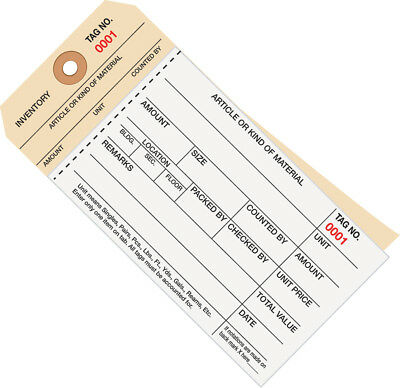 """Box Partners Inventory Tags 2 Part Carbonless Stub Style #8 (2000-2499) 6 1/4"""" x"""