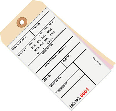 """Box Partners Inventory Tags 3 Part Carbonless # 8 (7500-7999) 6 1/4"""" x 3 1/8"""""""