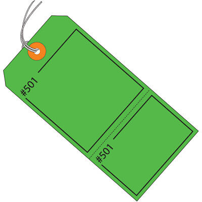 """Box Partners Claim Tags Consecutively Numbered Pre-Strung 4 3/4"""" x 2 3/8"""" Green"""