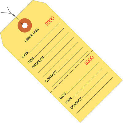 """Box Partners Repair Tags Consecutively Numbered Pre-Wired 6 1/4"""" x 3 1/8"""" Yellow"""