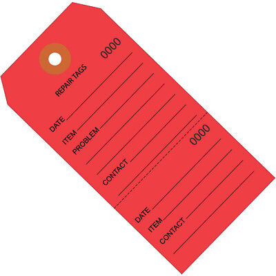 """Box Partners Repair Tags Consecutively Numbered 6 1/4"""" x 3 1/8"""" Red 1000/Case"""