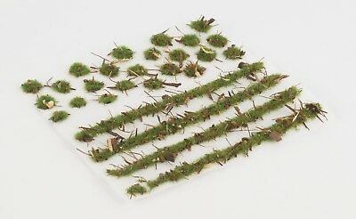 WWS 2mm Forest Ground Static Grass Modeling Tufts/Strips Mix -Railroad Warhammer