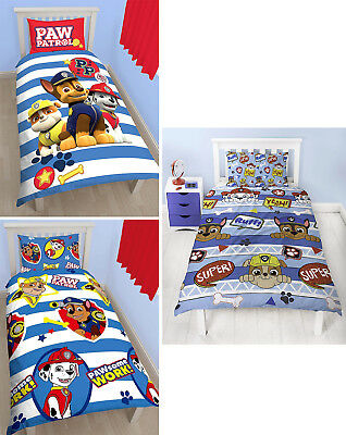 Paw Patrol Kids Single Duvet Quilt Cover Bedding Set - 3 Designs To Choose From