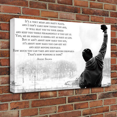 Rocky Balboa Poster Motivational Movie Quotes Art Canvas HD Poster 16x24 inches