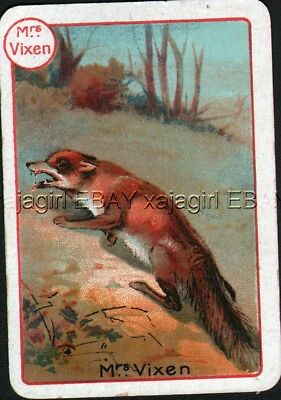 FOX Red Vixen, Lovely Victorian Playing Card- Swap Card