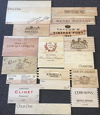 17 Wooden Wine Box End Panels from Wine Crates for Decoration Rare Wines Lot 12