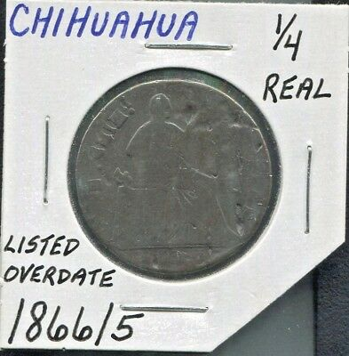 Chihuahua - Historical Copper 1/4 Real (1 Quarto, 1 Quartilla), 1866/5,  Km #344