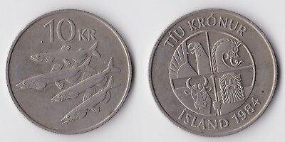 1984 Iceland 10 kronur coin with fish