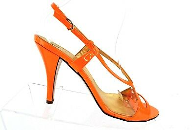 a85271e45ba7c J CREW Womens Size 7.5 Ankle Strap Open Toe Heels Sandals Bright Orange  Italian