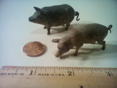 """Antique Metal Pigs(2), Possibly Brass  2"""" Length, As Is"""
