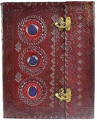 "3 Stone Leather Blank Book of Shadows 2 Latch LARGE Tome 10"" x 13"" Wicca"