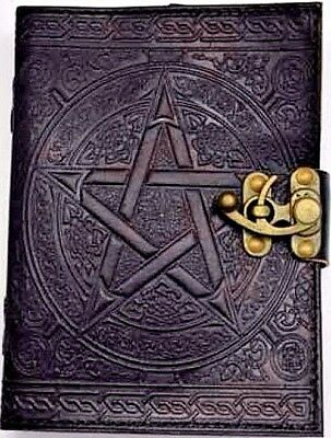 Black Leather Pentagram Book of Shadows w/ Latch Blank Journal Wicca Pagan Diary
