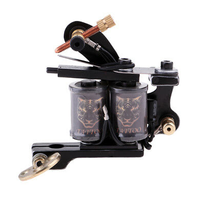 Pro Body Art Tattoo Machine Gun Shader Liner Dual 10 Wrap Coils & Wrench