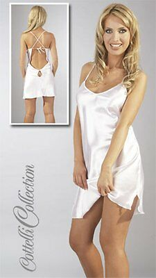Cottelli Sexy White Satin Negligée. Chemice. Babydoll.  Small to Plus Size