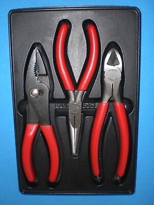 Snap-On SET 47ACP Combo Plier 96BCP Needle Pliers Diagonal Cutter 87BCP RED Tray