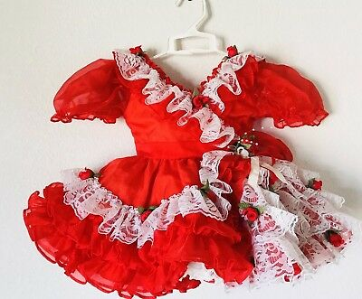 Red Vintage Baby Sheer Dress With Ruffle Lace